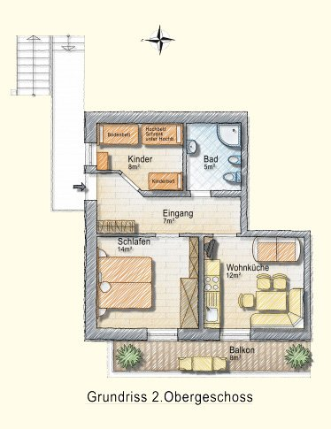 Grundriss Appartement 2 Personen